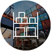 Shipping cargo containers stacked at port, icon of boxes on shelves